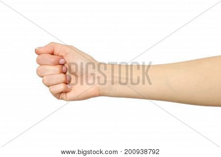 Female Hand Showing Wrong Fist Gesture Isolated On White
