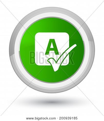 Spell Check Icon Prime Green Round Button