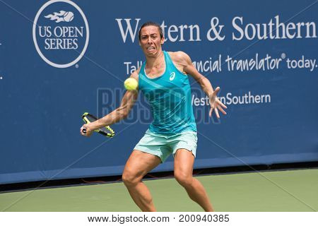 Mason Ohio - August 13 2017: Francesca Schiavone in a qualifying match at the Western and Southern Open tennis tournament in Mason Ohio on August 13 2017.