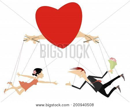 Love couples concept illustration isolated. Heart manipulates with couple of lovers looking like puppets