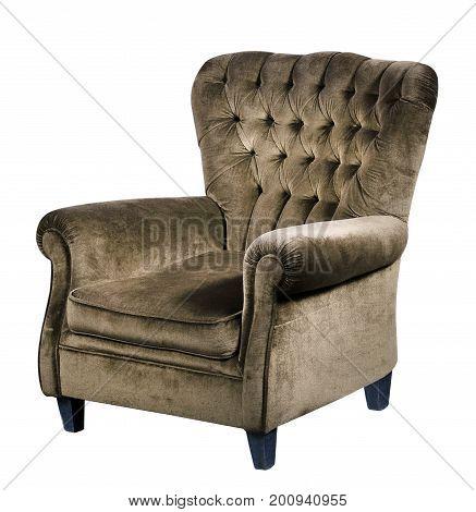 Brown Velvet Armchair Against White Background