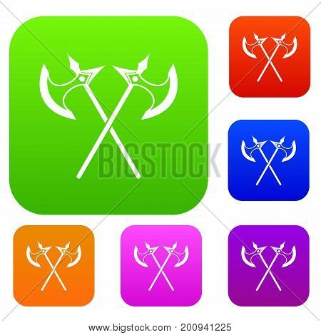 Crossed battle axes set icon in different colors isolated vector illustration. Premium collection