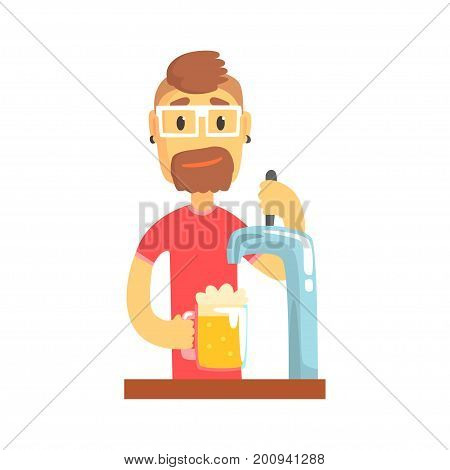 Bartender man character standing at the bar counter pouring beer, barman at work cartoon vector Illustration on a white background