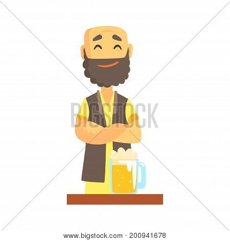 Bald bearded bartender character standing at the bar counter, barman at work cartoon vector Illustration on a white background
