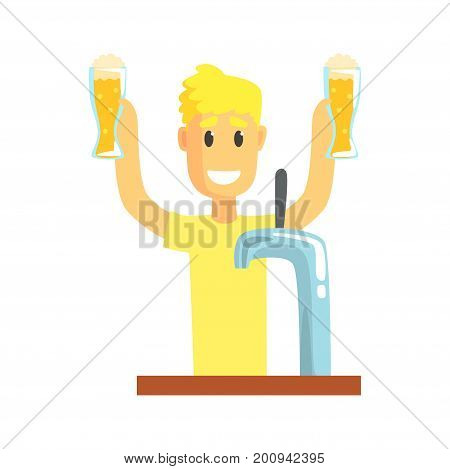 Smiling bartender man character standing at the bar counter holding mugs of beer, barman at work cartoon vector Illustration on a white background