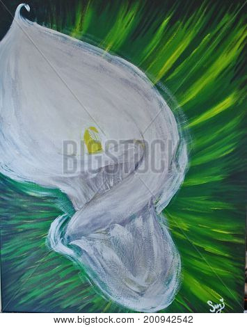 Acrylic Painting on Canvas of White Lily on Abstract Green Background