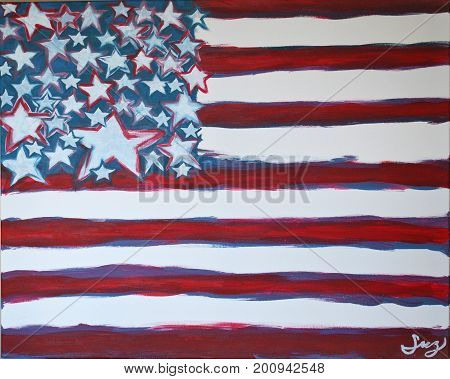 Acrylic Painting on Canvas of Abstract American Flag in Red, White, Blue