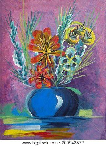 Acrylic Painting on Canvas of Floral Bouquet in Blue Round Vase on Magenta Background