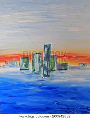 Acrylic Painting on Canvas of Abstract Buildings at Sunset