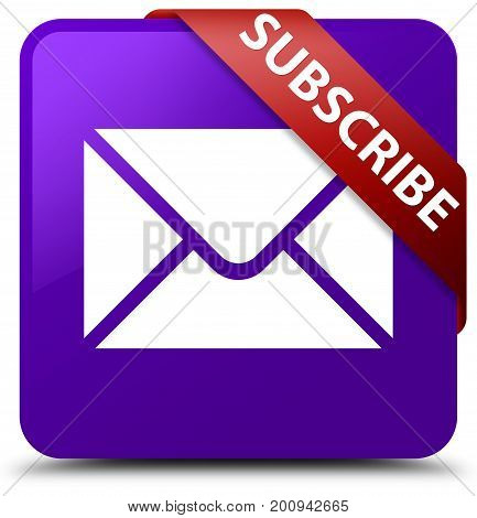 Subscribe (email Icon) Purple Square Button Red Ribbon In Corner