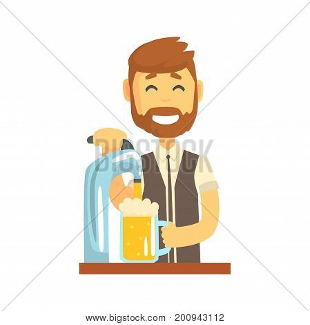 Smiling bearded bartender man character standing at the bar counter pouring beer, barman at work cartoon vector Illustration on a white background