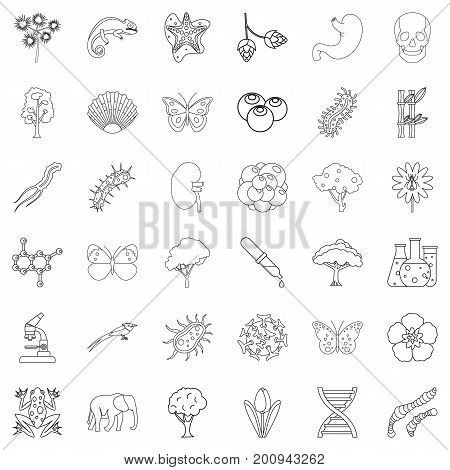 Wildlife icons set. Outline style of 36 wildlife vector icons for web isolated on white background