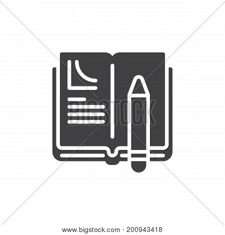 Homework icon vector, filled flat sign, solid pictogram isolated on white. Book and pen symbol, logo illustration. Pixel perfect vector graphics