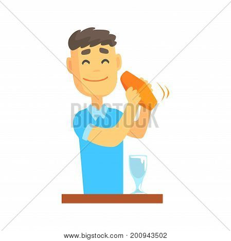 Bartender man character standing at the bar counter shaking cocktail, barman at work cartoon vector Illustration on a white background