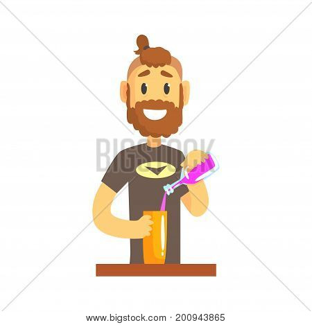 Smiling bartender man character standing at the bar counter pouring alcoholic beverage, barman at work cartoon vector Illustration on a white background