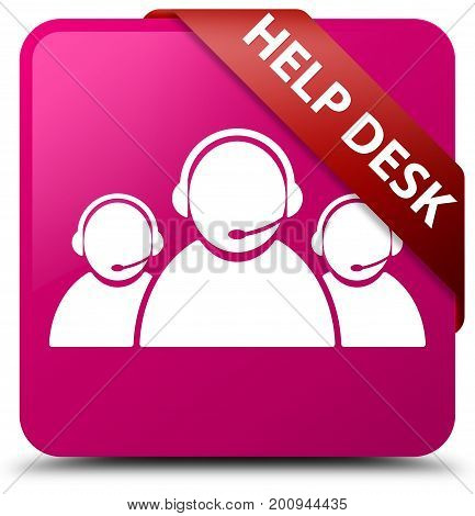 Help Desk (customer Care Team Icon) Pink Square Button Red Ribbon In Corner