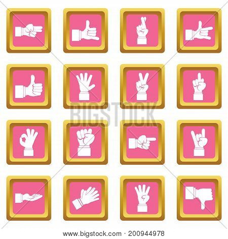 Hand gesture icons set in pink color isolated vector illustration for web and any design