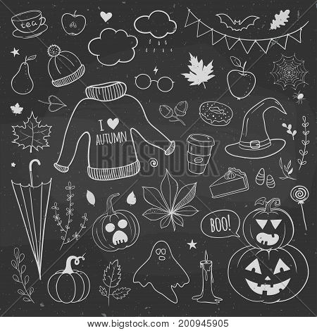 Halloween doodles. Autumn doodles on a chalkboard carved pumpkins autumn leaves cakes candles and apples.