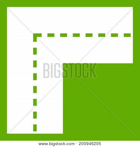 Turning road icon white isolated on green background. Vector illustration