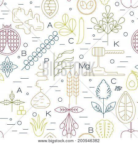 Color uperfood line icons seamless pattern. Pomegranate, ginger, lucuma, spirulina, kelp, noni, cacao, baobab, blueberry, goji, acerola, honey, avocado, quinoa.