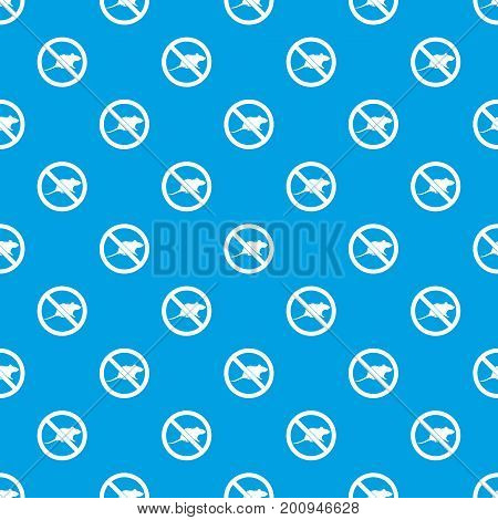No rats sign pattern repeat seamless in blue color for any design. Vector geometric illustration