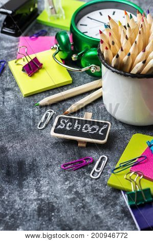 School Stationery, Supplies, Pencil, Pen, Note On Grunge Chalkboard