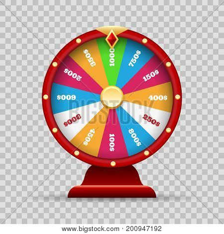 Luck wheel of fortune or lottery spinning game on transparency background vector illustration