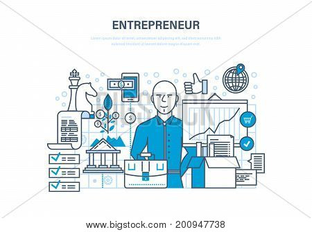 Entrepreneur concept. Start-up projects, investment, innovation, business ideas, marketing strategy, leadership, success and growth of investments. Illustration thin line design of vector doodles