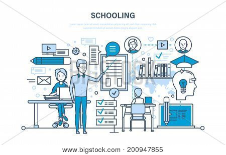 Schooling concept. Corporate training, education for college, distance learning, skills. Teaching on lesson in classroom. Learning, knowledge. Illustration thin line design of vector doodles.