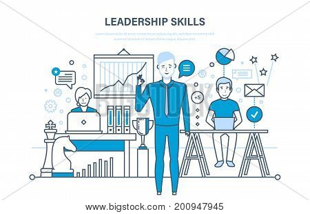 Leadership skills and leadership development, management, career growth, success in the work and learning, motivation, improvement personal qualities. Illustration thin line design of vector doodles.