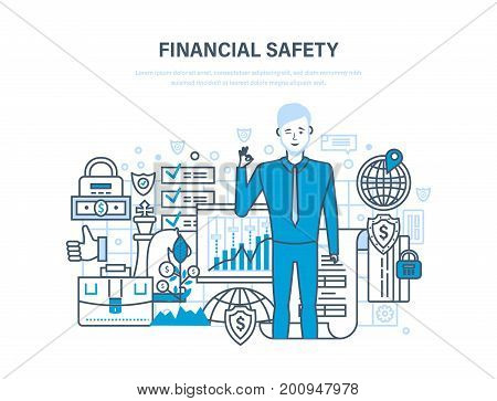 Finance security and payment safety, insurance, protection, cash deposits, purchases and money transfers, analysis of finance, transactions deposits. Illustration thin line design of vector doodles