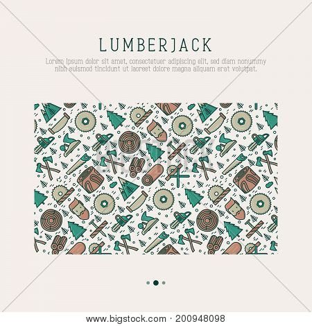 Logging and lumberjack with beard concept and related thin line icons: jack-plane, sawmill, forestry equipment, timber, lumber. Vector illustration for banner, web page, print media.