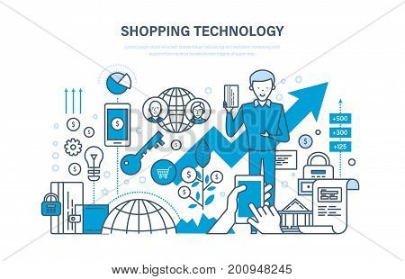 Shopping technology. Financial security, safety of payments, payment protection, communications, online ordering system of products, technical support. Illustration thin line design of vector doodles.