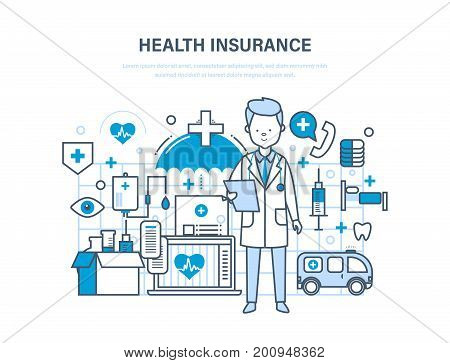 Health insurance concept. Life and accident insurance. Modern medicine, medical care, healthcare, protect and guarantee safety patients, first aid, ambulance. Illustration of vector doodles.