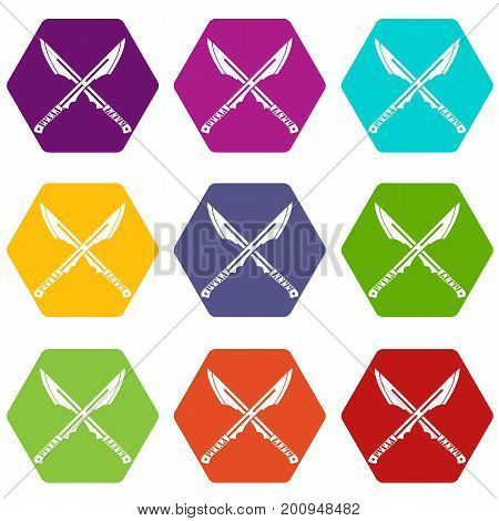 Japanese tanto daggers icon set many color hexahedron isolated on white vector illustration