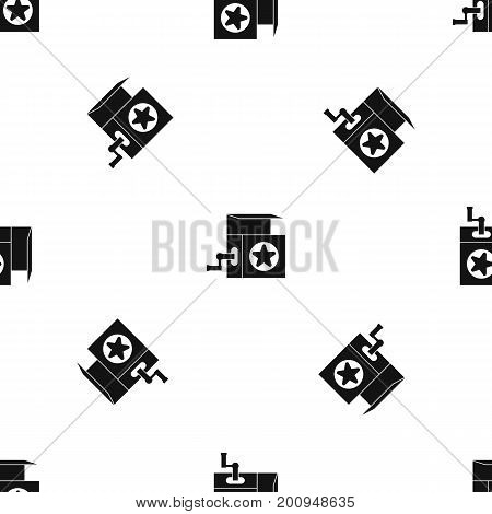 Music box pattern repeat seamless in black color for any design. Vector geometric illustration