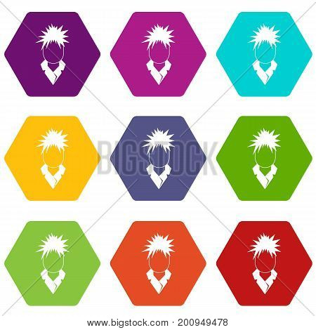 Singer icon set many color hexahedron isolated on white vector illustration