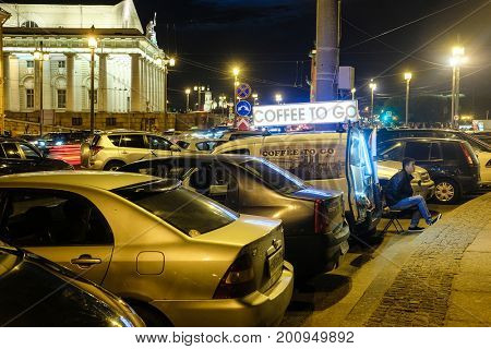 Sankt-Peterburg, Russia - August, 19, 2017: mobile cafe on a car parking in Sankt-peterburg