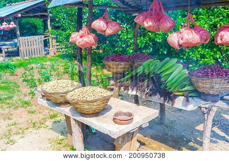 Small farmers roadside stalls offers wide range of fruits vegetables and nuts in more affordable price Sri Lanka