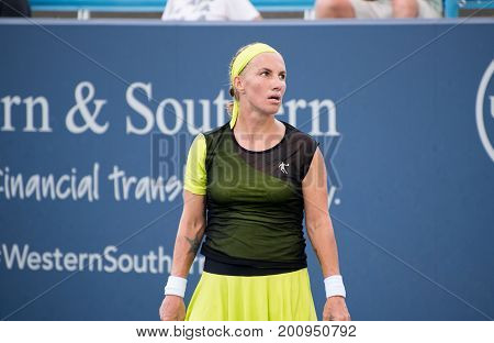 Mason Ohio - August 17 2017: Svetlana Kuznetsova in a round of 16 match at the Western and Southern Open tennis tournament in Mason Ohio on August 17 2017.