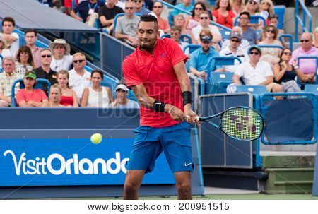 Mason Ohio - August 20 2017: Nick Kyrgios in the championship match at the Western and Southern Open tennis tournament in Mason Ohio on August 20 2017.