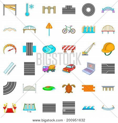 Asphalt icons set. Cartoon style of 36 asphalt vector icons for web isolated on white background