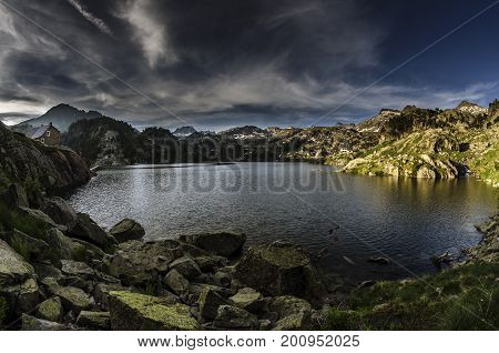 Colomers, close to Lac Major de Colomers, one of the bigest lakes in the area. Circ de Colomers is a picturesque and rugged region of Val d'Aran, moulded by the action of ancient glaciers, full of lakes and surrounded by hilly peaks. Because of its natura