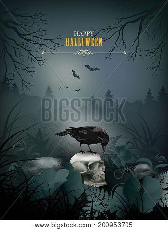 Halloween vector night scene with skull, black Raven, stones and fern