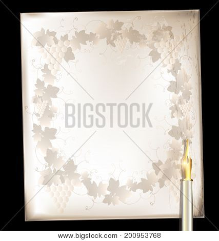 dark background retro stylized sheet of paper with floral pattern and old-fashioned golden writing pen