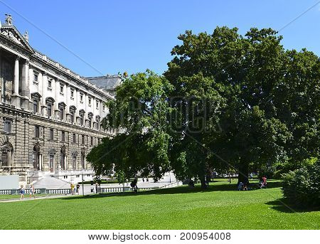 View on National Library of Hofburg Palace and the Burggarten in Vienna, Austria.