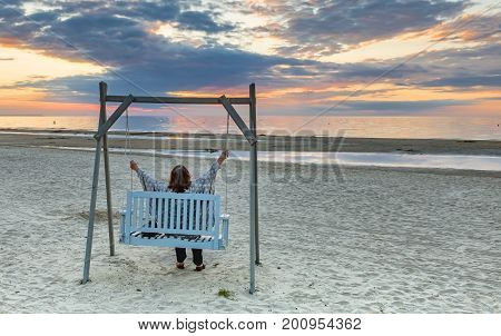 Sunset at a public domain beach of Jurmala - famous international resort in Latvia, Europe