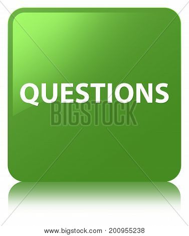 Questions Soft Green Square Button