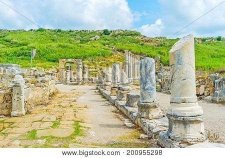 Walk In Ancient Street Of Perge