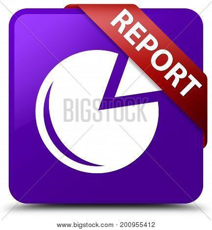 Report (graph Icon) Purple Square Button Red Ribbon In Corner